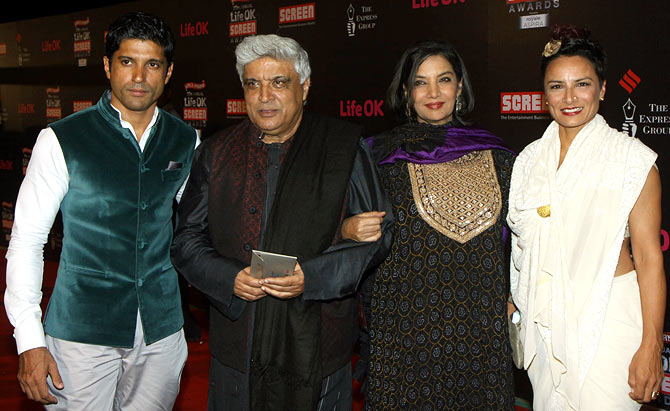 Farhan, Javed and Adhuna Akhtar with Shabana Azmi
