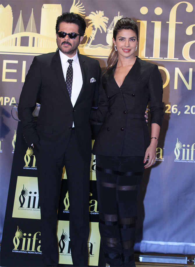 Anil Kapoor and Priyanka Chopra at the IIFA promotion event in New York.
