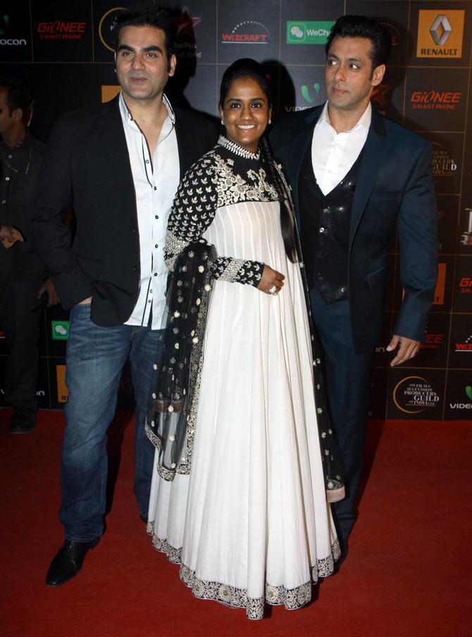 Arbaaz, Arpita and Salman Khan