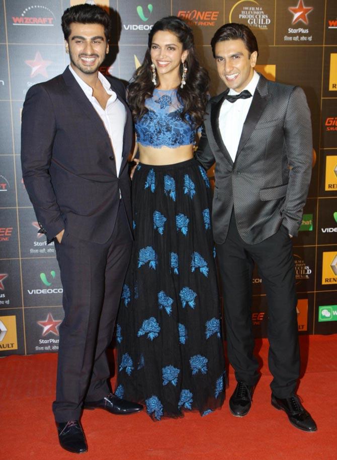 Arjun Kapoor, Deepika Padukone and Ranveer Singh