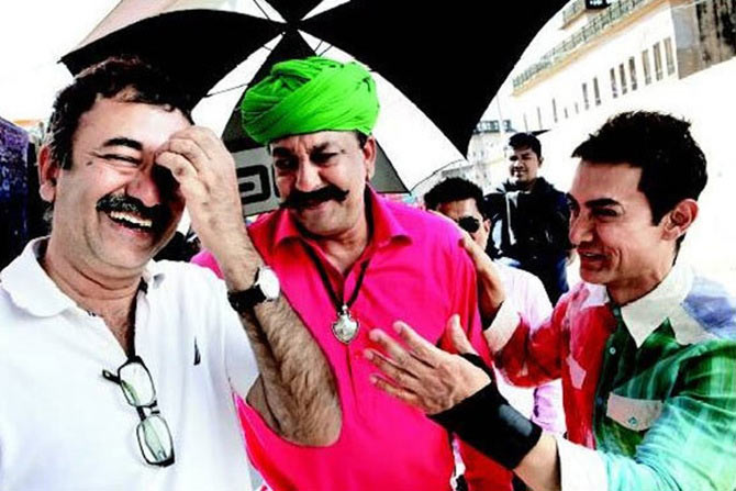 Rajkumar Hirani, Sanjay Dutt and Aamir Khan in P.K