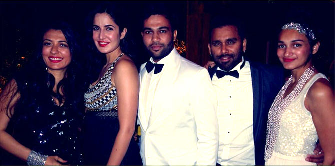 Mini Mathur, Katrina Kaif, Ali Abbas Zafar with his friends