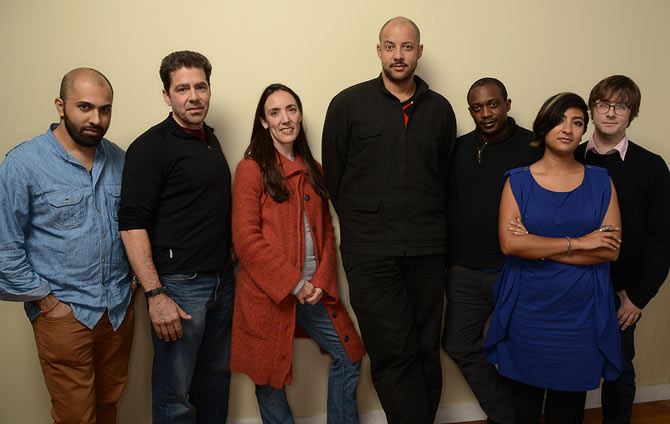 From left, filmmakers Ritesh Batra, Tod Lending, Megan Mylan, Christopher Myers, Hank Willis Thomas, Farihah Zaman, and Jeff Reichert at the 2014 Sundance Film Festival.