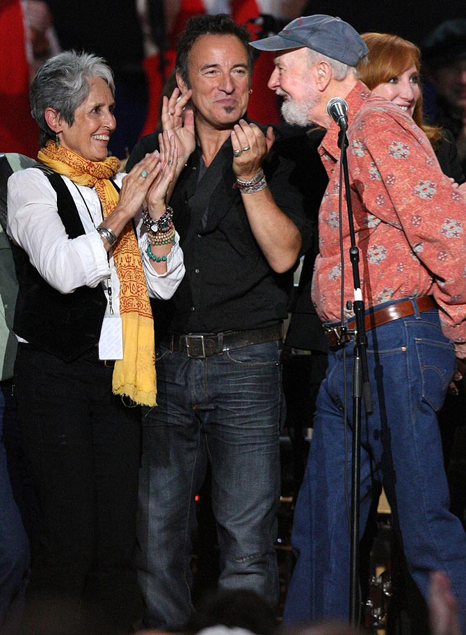 Musician Joan Baez, Bruce Springsteen and Pete Seeger appear onstage at the Clearwater Benefit Concert Celebrating Pete Seeger's 90th Birthday at Madison Square Garden on May 3, 2009 in New York City