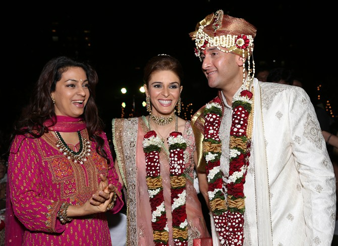 Juhi Chawla with the newlyweds