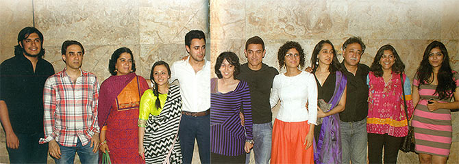 Left to right: Aamir's son Junaid, brother Faisal, former wife Reena Dutta, Avantika Malik, Imran Khan, daughter Ira, Aamir Khan, Kiran Rao, sister Nuzhat, cousin Mansoor Khan and other family members