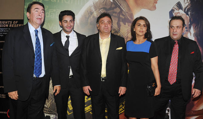 Randhir Kapoor, Armaan Jain, Rishi and Neetu and Rajiv Kapoor