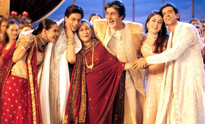 Jaya Bachchan with Kajol, Shah Rukh Khan, Amitabh Bachchan, Kareena Kapoor and Hrithik Roshan in Kabhi Khushi Kabhie Gham