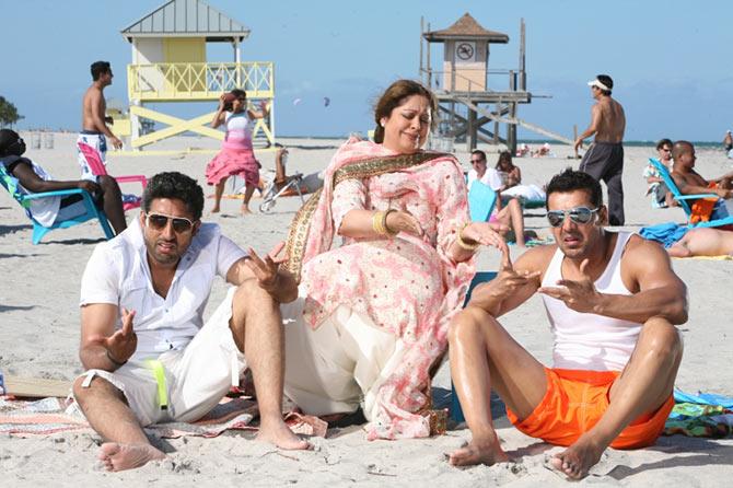 Abhishek Bachchan, Kirron Kher and John Abraham in Dostana