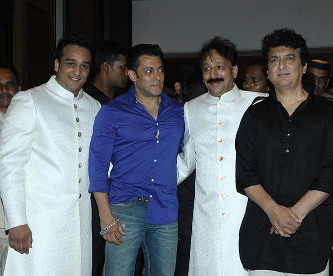 Zeeshan Siddique, Salman Khan, Baba Siddique and Sajid Nadiadwala
