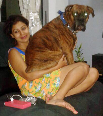 Debina Bonnerjee at home with her pet dog