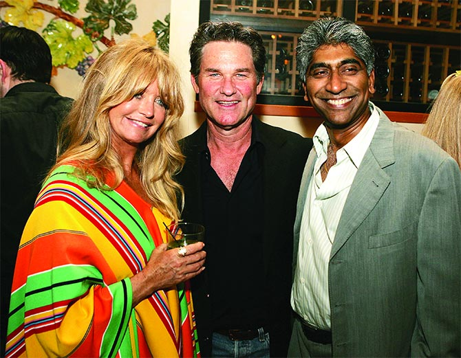 Goldie Hawn, Kurt Russel and Ashok Amritraj