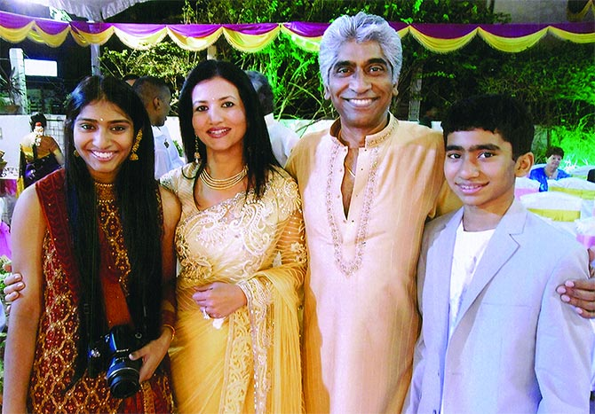 Chitra and Ashok Amritraj with their children Priya and Milan