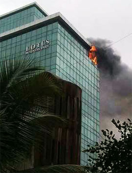 The fire at Lotus Business Park in suburban Andheri