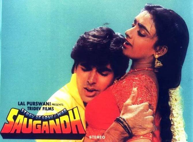 Akshay Kumar and Shantipriya on the poster of Saugandh