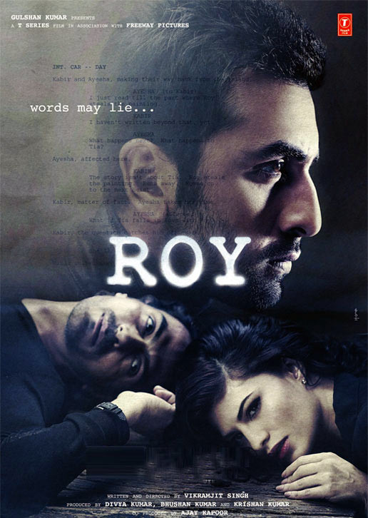 Ranbir Kapoor, Arjun Rampal, Jacqueline Fernandez on the poster of Roy