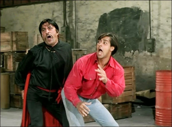Shakti Kapoor and Salman Khan in Andaz Apna Apna