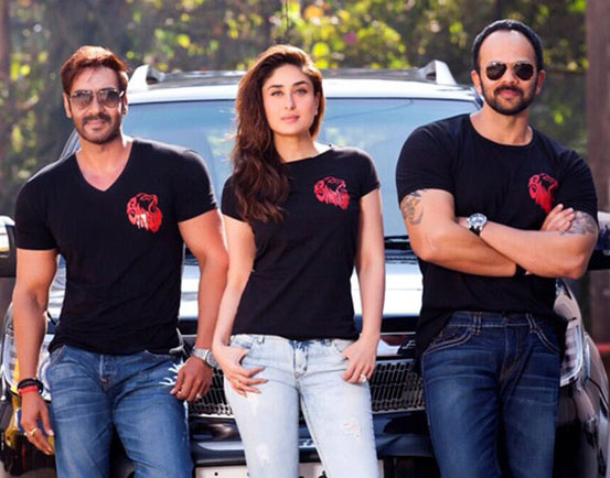 Ajay Devgn, Kareena Kapoor and Rohit Shetty