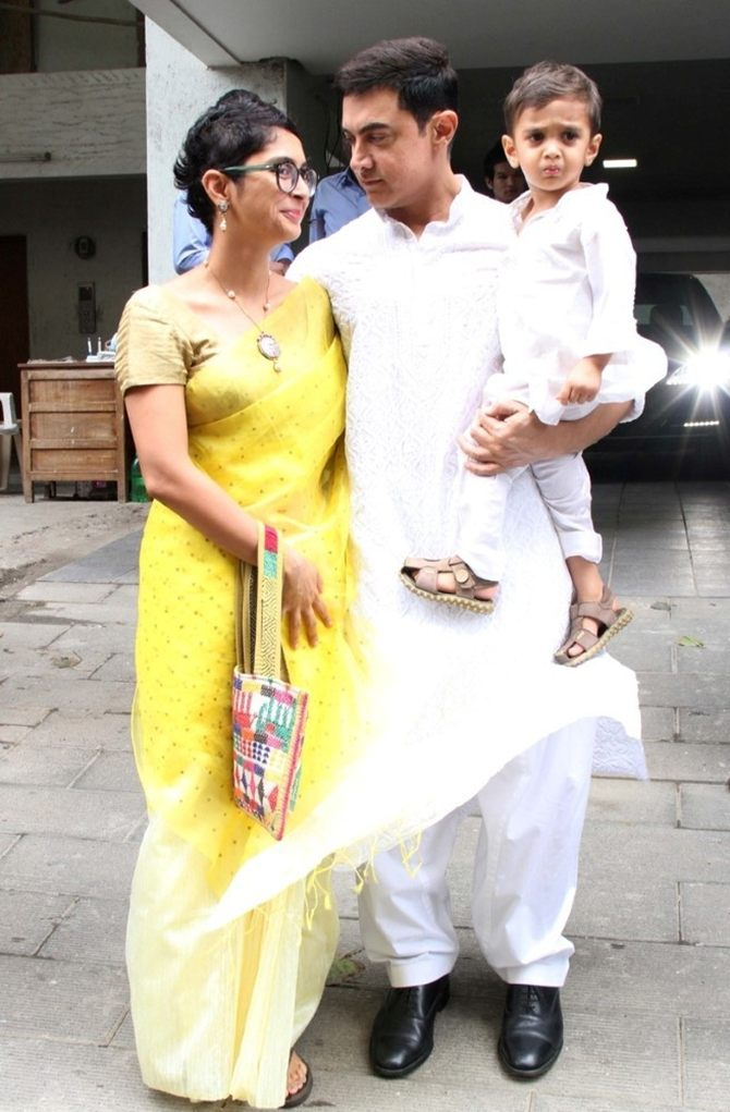 Aamir Khan with Kiran Rao and son Azad