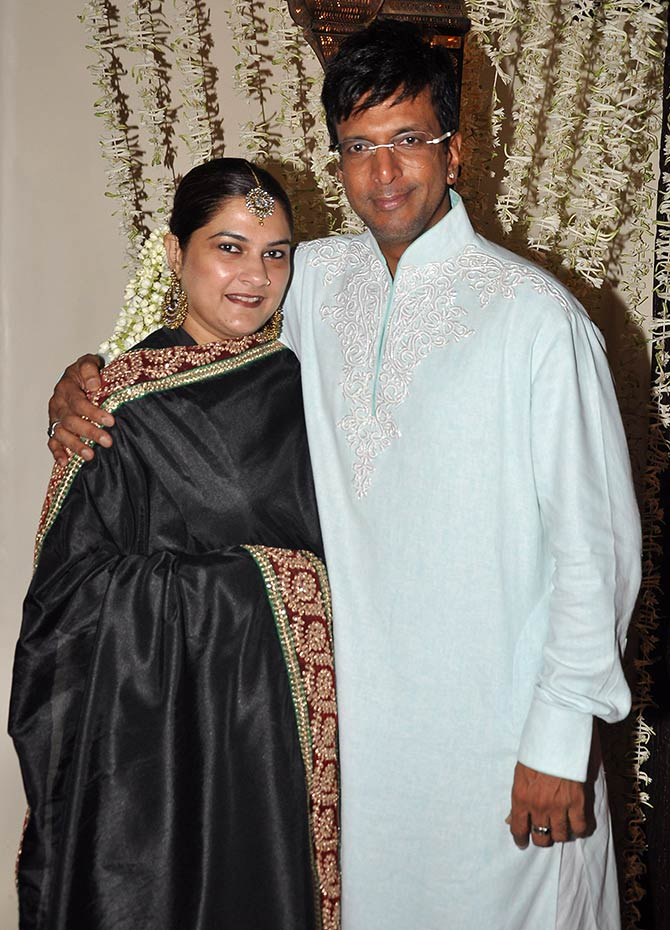 Javed Jaffrey with wife Habiba