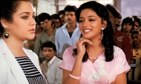 Mandakini with Madhuri Dixit in Tezaab