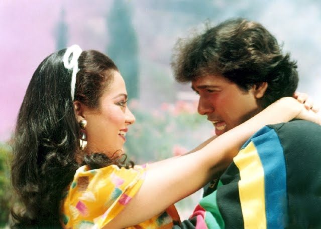 Mandakini with Govinda in Aakhri Baazi