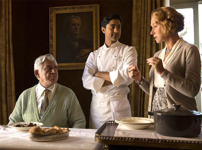 Om Puri, Manish Dayal and Helen Mirren in The Hundred-Foot Journey.