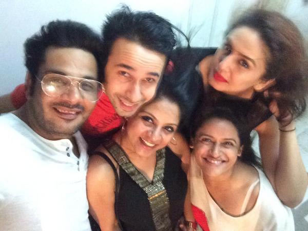 Mukesh Chhabra and Huma Qureshi with their friends
