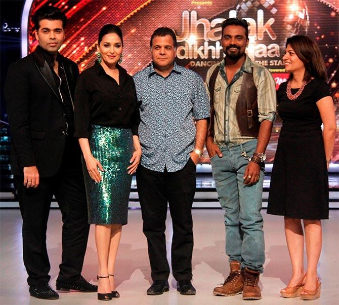 Karan Johar, Madhuri Dixit, Raj Nayak (CEO COLORS) Remo Fernandes, producer Myleeta Aga
