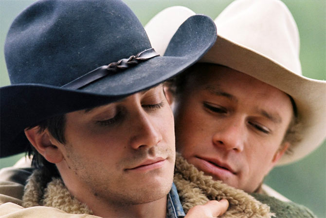 Jake Gyllenhaal and Heath Ledger in Brokeback Mountain