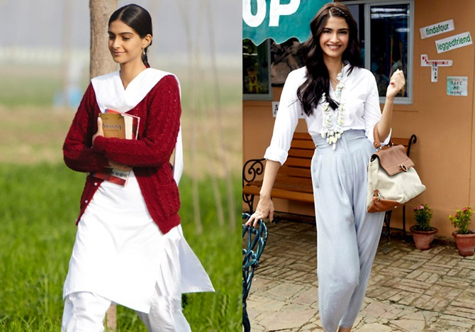 Left: Sonam Kapoor in Mausam. Right: Sonam Kapoor in Aisha