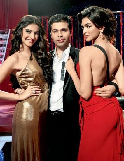 Sonam Kapoor, Karan Johar and Deepika Padukone