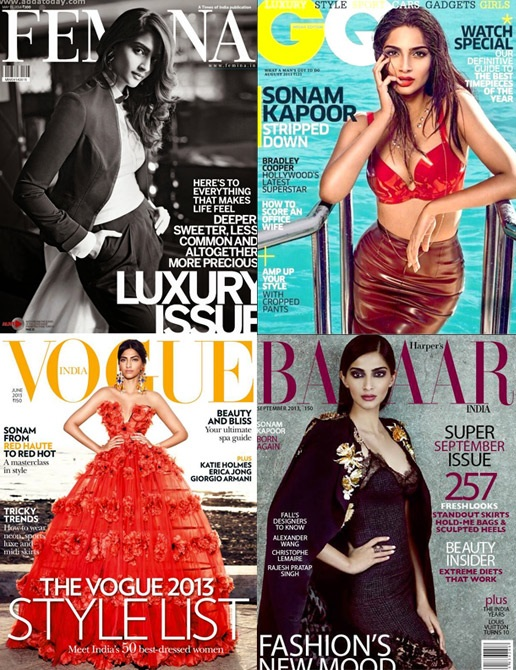 Sonam Kapoor on the cover of various magazines