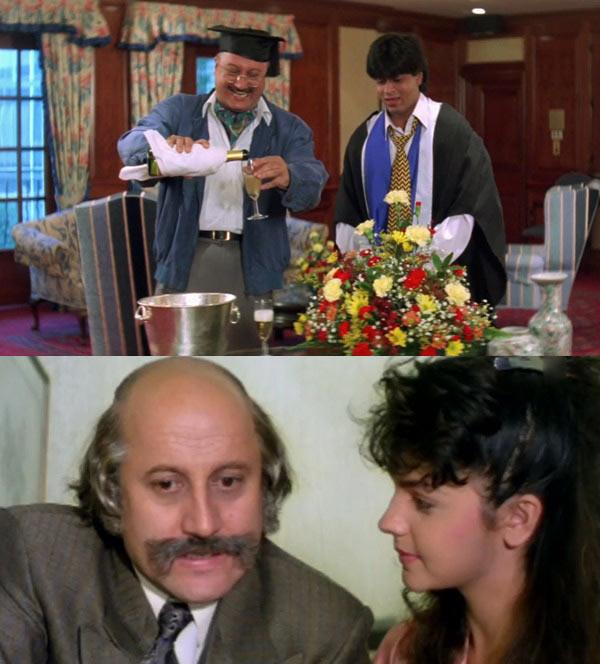 Anupam Kher and Shah Rukh Khan in Dilwale Dulhania Le Jayenge, Anupam Kher and Pooja Bhatt in Dil Hai Ki Manta Nahin