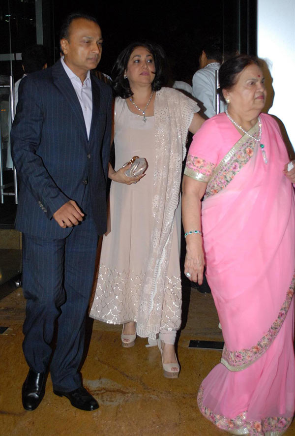 Anil and Tina Ambani with Kokilaben