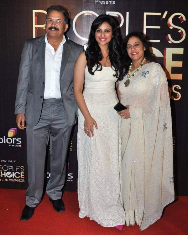 Pawan Chopra, Parineeti Chopra and Reena Chopra.