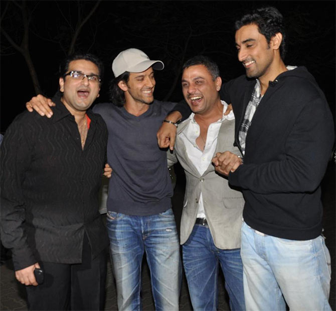 Hrithik Roshan and Kunal Kapoor (far right) with friends