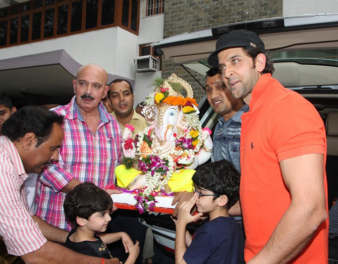 The Roshan with their Ganpati
