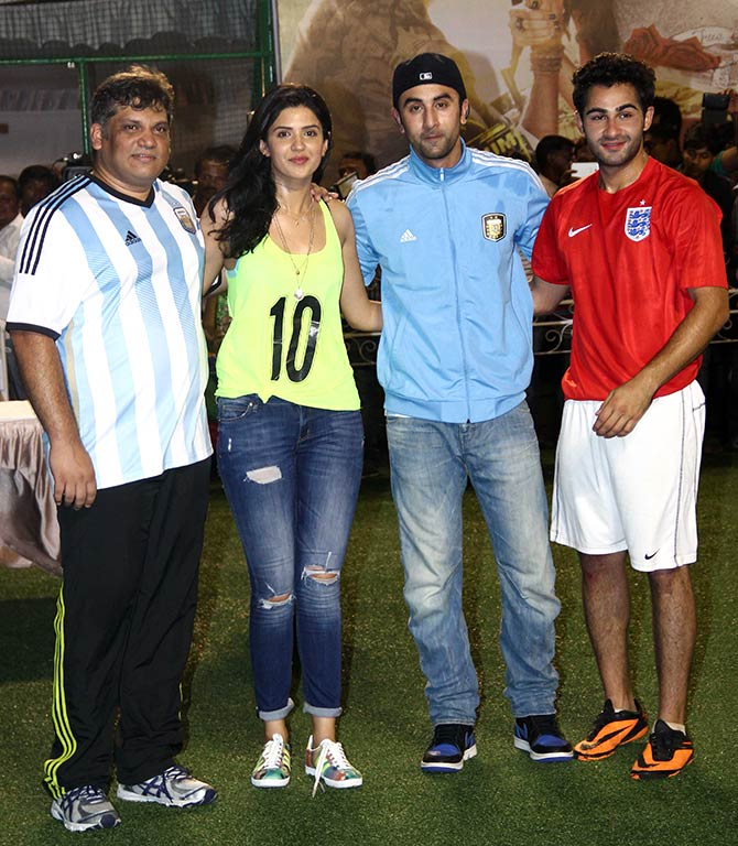 Arif Ali and Deeksha Seth with Ranbir Kapoor and Armaan Jain