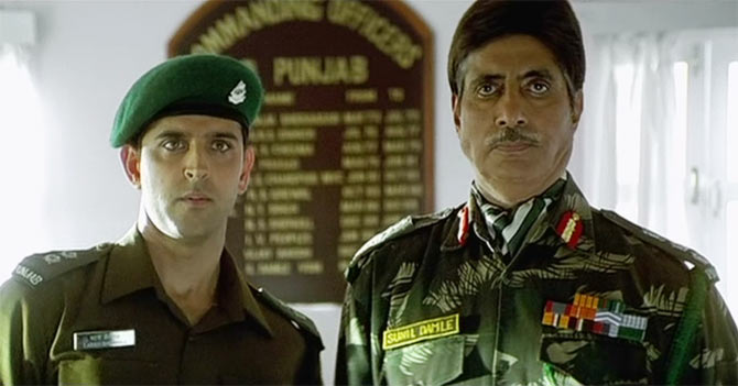Hrithik Roshan and Amitabh Bachchan in Lakshya