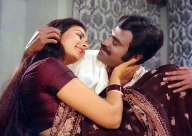 Rajinikanth with Poonam Dhillon in John Jani Janardhan