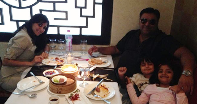 Ram Kapoor with wife Gautami, daughter Sia and son Aks