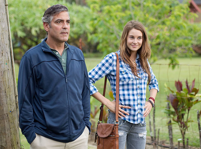 Shailene Woodley with George Clooney in The Descendants
