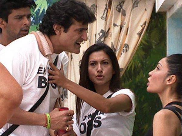 Armaan Kohli and Sofia Hayat have a war of words while Gauahar tries to restrain them in Bigg Boss 7