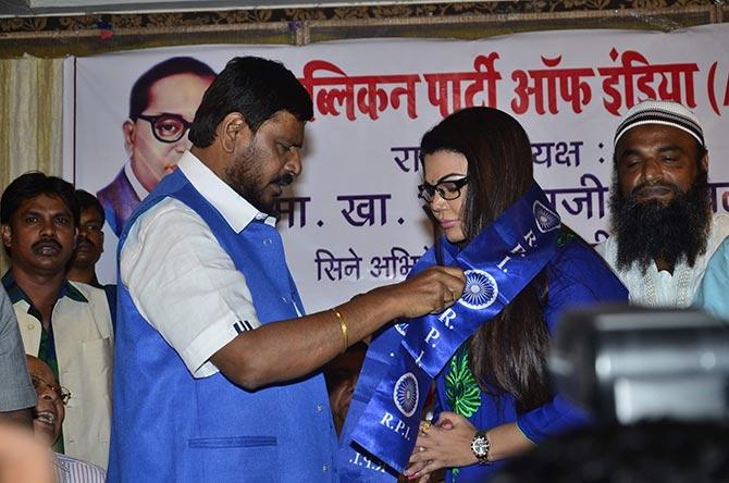 Ramdas Athwale and Rakhi Sawant