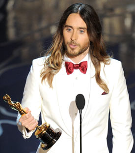 Jared Leto accepts the Best Performance by an Actor in a Supporting Role award for Dallas Buyers Club onstage during the Oscars at the Dolby Theatre