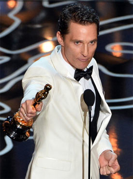 Matthew McConaughey accepts the Best Actor award for Dallas Buyers Club onstage during the Oscars at the Dolby Theatre