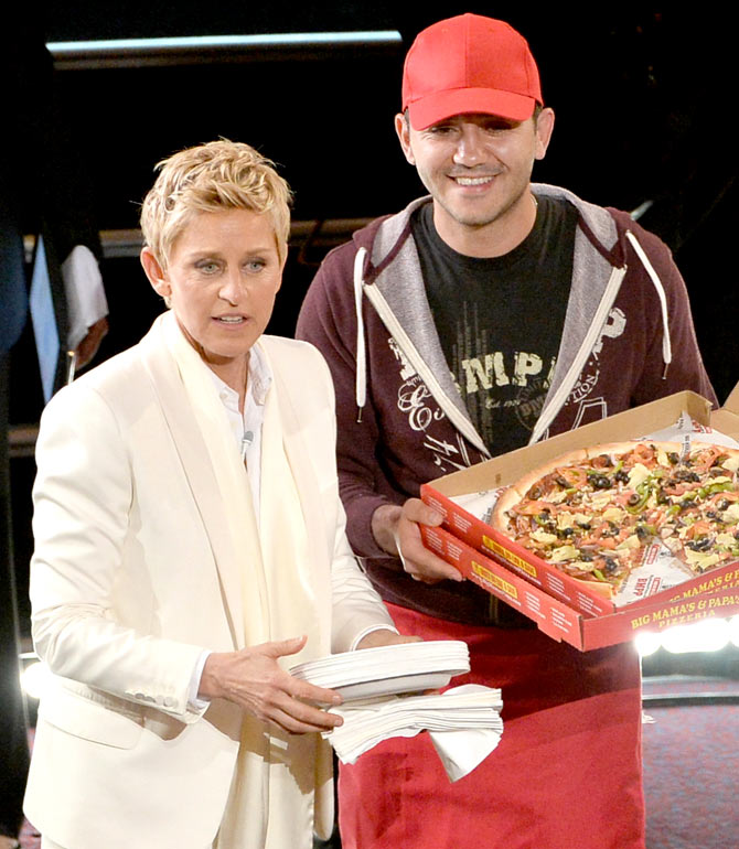 Ellen DeGeneres with a Pizza Boy