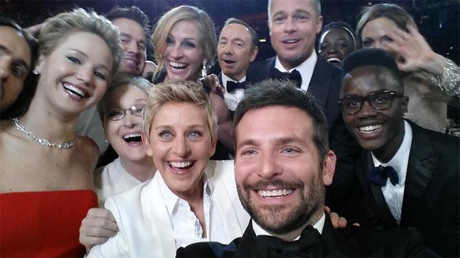 (Clockwise from centre) Ellen DeGeneres, Meryl Streep, Jennifer Lawrence, Julia Roberts, Kevin Spacey, Brad Pitt, Lupita Nyong'o, Angelina Jolie and Bradleuy Cooper. Photograph: Ellen DeGeneres/Twitter