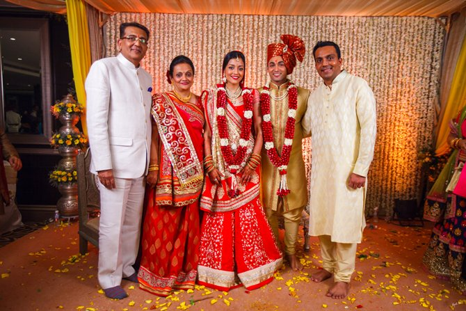 Nirali Mehta and Ruslaan Mumtaz pose with the bride's folks